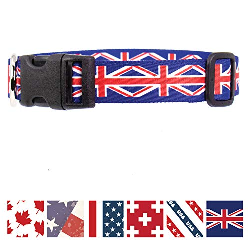 Buttonsmith Union Jack Dog Collar - Fadeproof Permanently Bonded Printing, Military Grade Rustproof Buckle, Resistant to Odors & Mildew, Choice of 5 Sizes, Made in The USA
