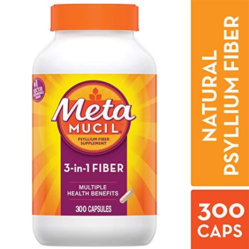 Metamucil Fiber, 3-in-1 Psyllium Capsule Fiber Supplement, 300 ct Capsules