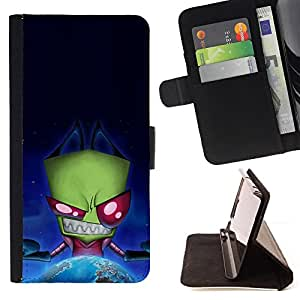 DEVIL CASE - FOR Samsung Galaxy A3 - Funny Evil Space Alien - Style PU Leather Case Wallet Flip Stand Flap Closure Cover