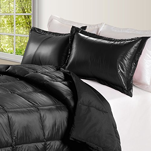 PUFF High Loft Down Indoor/Outdoor Water Resistant Comforter with Extra Strong Nylon Cover Twin Black