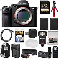 Sony Alpha A7S II 4K Wi-Fi Digital Camera Body with Sony VG-C2EM Grip + 64GB Card + Backpack + Flash + Battery & Charger + Flex Tripod + Kit Basic Intro Review Image
