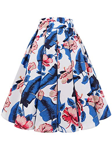 Bridesmay Women's Vintage Pleated Floral Printed A-line Swing Skirt with Pockets White-Flower S