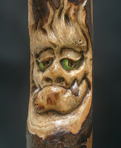 Woodcarving Wood Spirit Old Man Orc Troll Goblin Tree Face Spirit of the Woods Odd Weird Pagan Wiccan Sculpture Key Chain Pendant Talisman OOAK Unique Gift Ornament