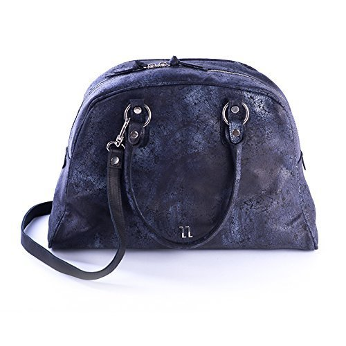 Dark Blue Italian Textured Leather Tote Bag with Spacy Interior, Four Inner Pockets, and a Cross Shoulder Adjustable Strap, Women's Designer Handmade Bags
