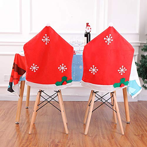 Clear Calendar Case Fold - Gotian 50x65cm 2Pcs Chair Covers Non-Woven Snowflake Hat Chair Covers Kitchen Dinner Xmas Cap Party Ornament Christmas Decor