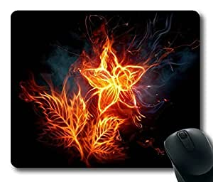 3d Fire Flower Masterpiece Limited Design Oblong Mouse Pad by Cases & Mousepads