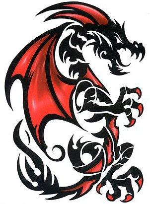 Amazon.com: Red Dragon Tribal Tatuaje Temporal: Beauty