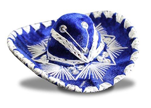 Del Mex Set of Five (5) Mexican Charro Mini Sombrero Mariachi Felt Costume Decor (Blue) -