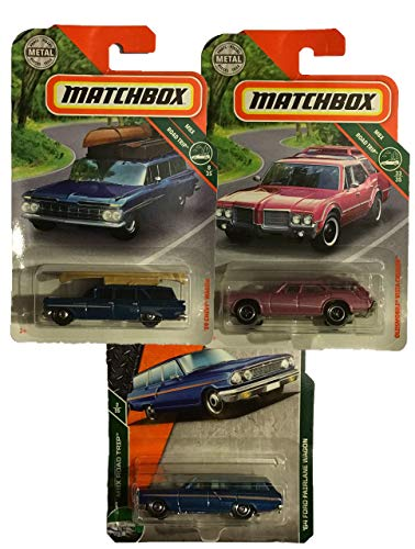 Matchbox 3 Pack Wagon MBX Road Trip Bundle with '64 Ford Fairlane Wagon 2/35 2/125 Blue, Oldsmobile Vista Cruiser 33/35 116/125 Pink, and '59 Chevy Wagon (w/ Canoe) 8/35 10/125 Blue - Oldsmobile Station Wagons