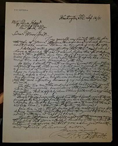 Chemist Frederick Gardner Cottrell Hand Signed ALS Todd Mueller W/COA from Unknown