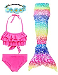 Garlagy 3 Pcs Girls Swimsuit Mermaid Tails for Swimming Bikini Set Bathing Suit Swimmable Can Add Monofin for 3-14Y (7-8/Ht:47-50in(tag 130), B-Rainbow Ruffled)