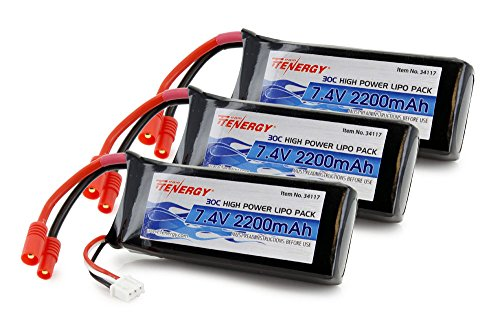 Tenergy 7.4V 2200mAh LiPo Battery, High Discharge Rate 30C RC Battery for Syma X8C X8W X8G X8HG X8HC X8HW Rechargeable Battery Pack w/ 3.5mm Banana Connector, 3-Pack