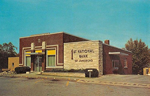 Jonesboro Illinois First National Bank Street View Vintage Postcard K55162