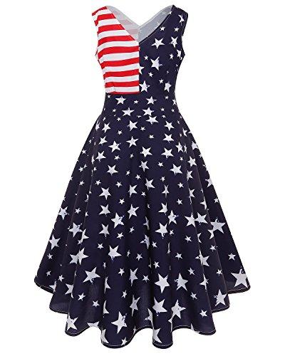 GIKING Women 4th July American Flag Dress Star Print Sexy V-Neck Vintage Summer Dresses Navy Blue XXL