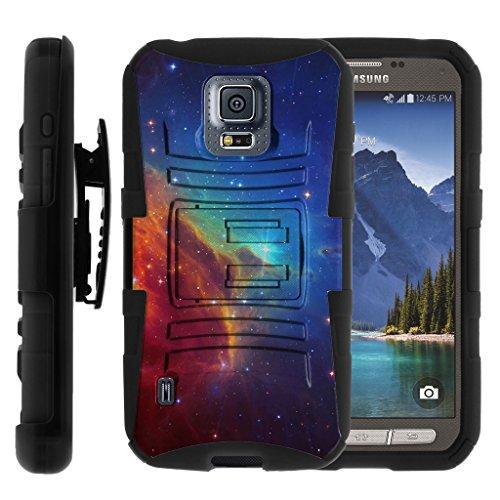 TurtleArmor | Samsung Galaxy S5 Active Case | G870 [Hyper Shock] Hybrid Dual Layer Armor Holster Belt Clip Case Kickstand - Colorful Nebula Galaxy