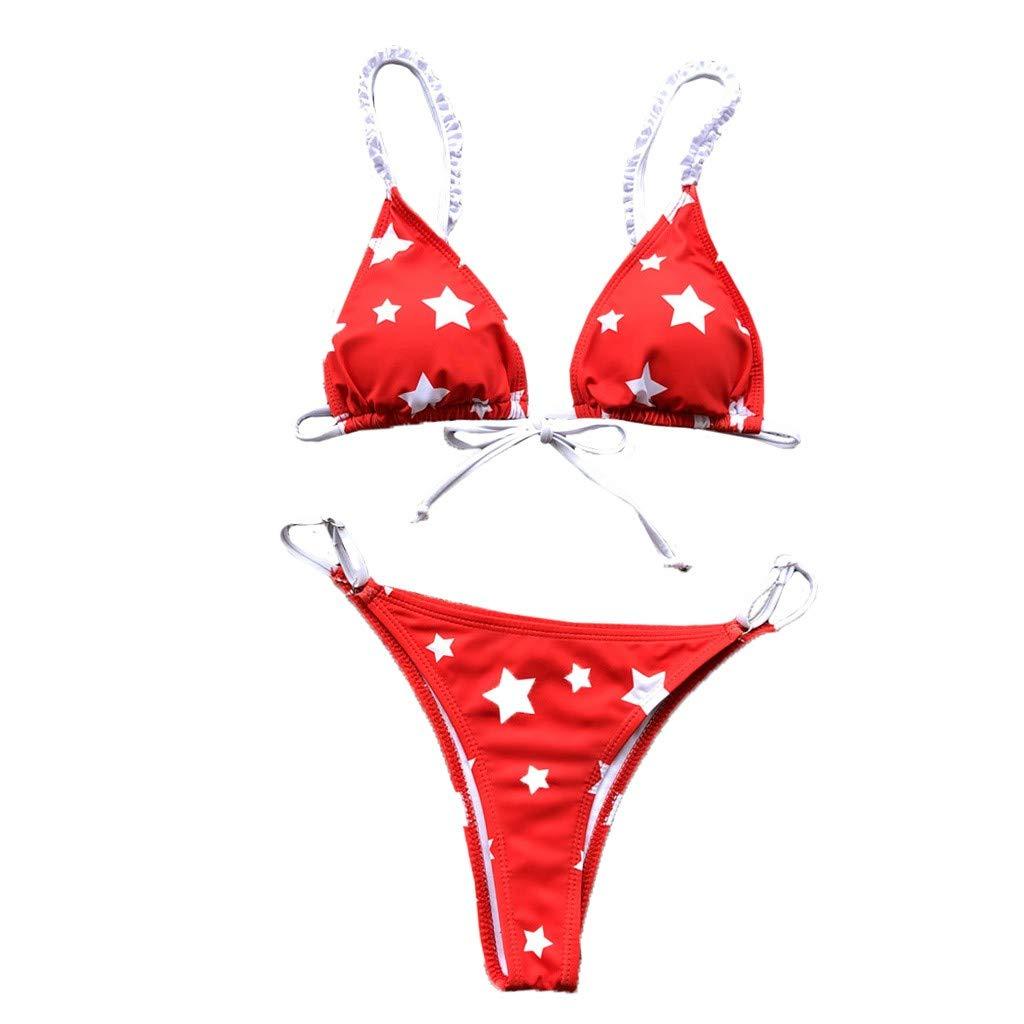 TANLANG Women's Print Split Swimsuit Pad Pushes 2022 Style Swimwear Brazilian Thong Bikini Set Red
