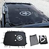LE-JX Jeep JK Sunshade - for Jeep Wrangler JK JKU (2007-2017)4-Door Sunshade Summer Mesh Top Cover, UV Protection(Back Star, 4-Door)