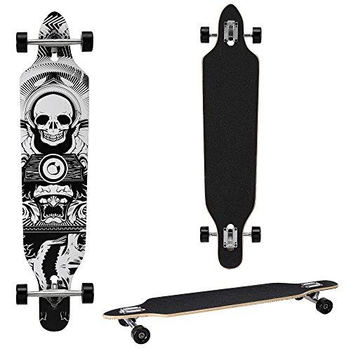 Longboard von [pro.tec] (104 x 23 x 9.5 cm) - ABEC 7-Kugellager - Skateboard / Dropped Through/ Freeride Board / Cruising Board / Retro Board ? Farbe: schwarz-weiss