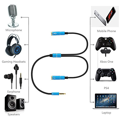 gaming headset adapter y splitter jack cable cord for xbox one pc laptop iphone