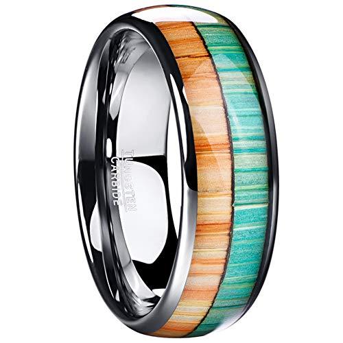 Vakki Ring 8mm Hochglanzpolierter Wolframkarbidring Orange und Grün Holzmuster Inlay Domed Style 54 bis 67(17.2-21.3)