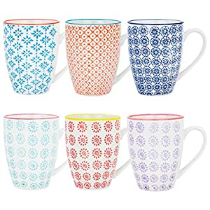 Nicola Spring 6 Piece Hand Printed Tea Coffee Mug Set