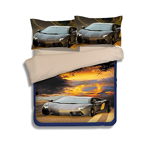 Koongso 3D Car Bedding Sets 100% Polyester - Sport Do Ultra Soft Cool Design Best Home Decor,Twin/Full/Queen/King Size
