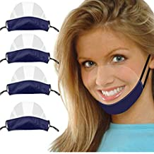 4PCS PVC Breathable Reusable Face Bandanas Washable Comfortable Transparent Visual Mini Shield, Visible Expression, for Deaf and Hard of Hearing