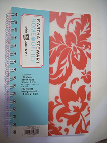 "Martha Stewart Home OfficeTM with AveryTM Notebook, Red Damask, 5-1/2"" X 8-1/2"""
