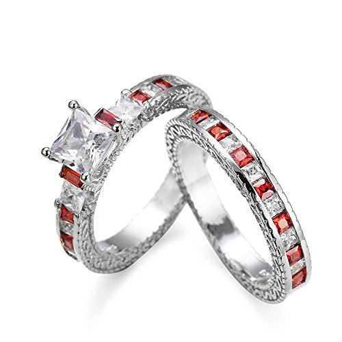 OldSch001 2-in-1 Couple Pairing Ring Set Vintage Red Diamond Silver Engagement Wedding Band For Women(Red,7)