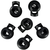 30 Pcs Plastic Single Hole Spring Loaded Cord Lock Round Ball Shaped Sliding Cord Fasterner Locks Buttons for Camping Hiking Sports Shoelace Replacement Luggages Clothing Backpacks (Black)