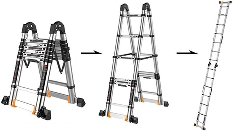 HYDT Escalera telescópica Multiusos con Barra estabilizadora, hogar Diario o Pasatiempos Escaleras de extensión de Aluminio, 4.9/5.7/6.52/7.33m (Size : 6.52m/21.39ft(3.3m+3.3m)): Amazon.es: Hogar