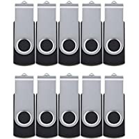 ALMEMO 10 Pack 128MB Bulk Pack USB 2.0 Flash Drives Swivel Thumb Drive Memory Stick, Black [Not 128GB]