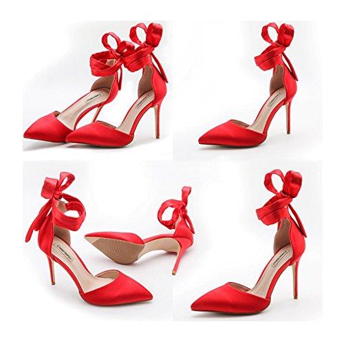 con tacco multa seta estiva nude a Size business Color da Red intestazione Fang Electronic in donna Chi tacchi con di scarpe Cheng sposa raso selvatici senza sandali alto da spillo 36 8cm wO066Hq8