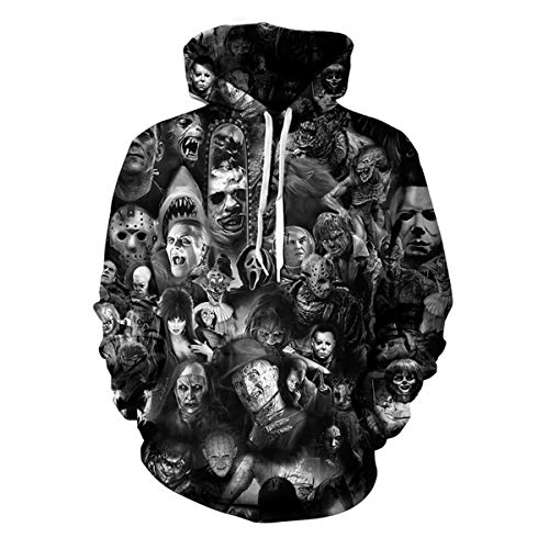 maduang Hoodies 3D Digital Movie Horror Clown Couple Casual Sweatshirt for Men Women ()