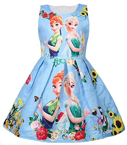 WNQY Princess Elsa Role Play Costume Party Dress Little Girls Anna Cosplay Dress up (Blue,130/5-6Y) ()