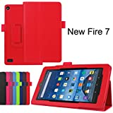 Asng All-New Fire 7 2017 / Fire 7 2015 Case - Premium PU Leather Folio Stand Cover Case for All-New Fire 7 Tablet with Alexa (7th Gen, 2017 Release) / Fire 7 (5th Gen, 2015 Release) (Red)