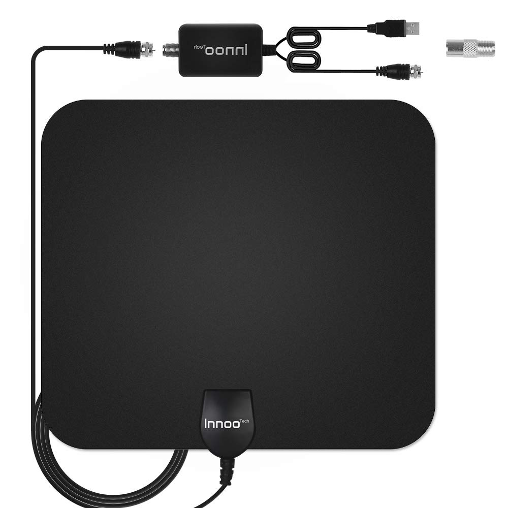 Innoo Tech TV Antenna - HDTV Antenna Support 4K 1080P, 60-120 Miles Range Digital Antenna for HDTV, VHF UHF Freeview Channels Antenna with Amplifier Signal Booster, 16.5 Ft Longer Coaxial Cable by Innoo Tech