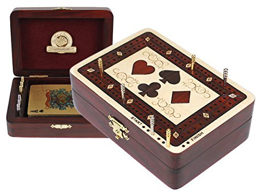 Cribbage Board Wood Inlaid Card Symbols Storage Box - 2 Tracks in Maple / Bloodwood 60 Points - Cribbage Board Store by House of Cribbage