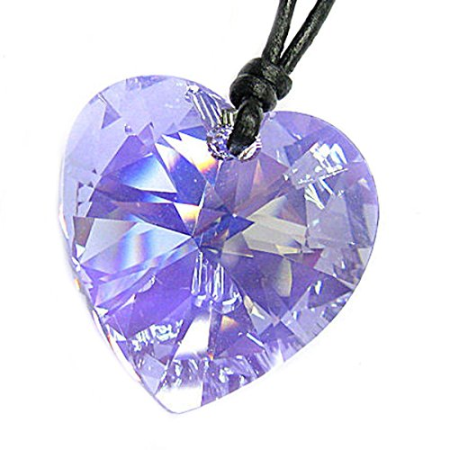 Leather Choker Necklace with Swarovski Elements Crystal Violet AB Heart Pendant, 14