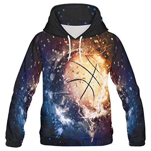 InterestPrint Custom Sports Basketball Ice and Fire Men's Pullover Hoodies Sweatshirt S