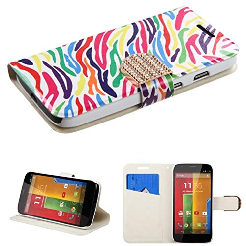 Insten Zebra Stand Folio Flip Leather [Card Slot] Wallet Flap Pouch Case Cover with Diamond Compatible with Motorola Moto G 1st Gen, Colorful (Moto X 1st Gen Case Flip)