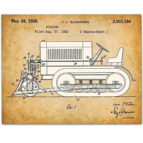 Bulldozer - 11x14 Unframed Patent Print - Makes a Great Art Gift Under $15 for Boy's Room ()