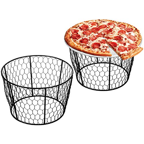 Rustic Black Chicken Wire Pizza Stands, Tabletop Food Platter Risers, Set of 2 ()