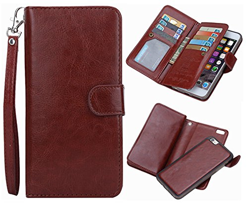 iPhone 6 plus/6S Plus 2 in 1 Wallet Case,Hynice Folio Flip PU Leather Case Magnetic Detachable Slim Back Cover Card Holder Slot Wrist Strap Wallet for iPhone 6 plus/6S Plus 5.5(Brown)