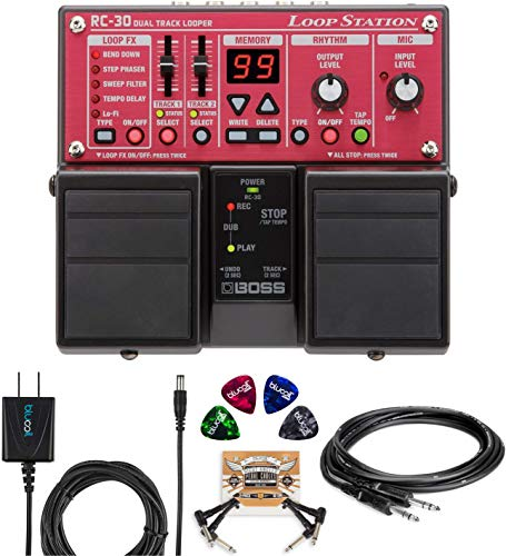 BOSS RC-30 Loop Station Bundle with Hosa 3-Ft CPP-103 Unbalanced Audio Cable, Blucoil 9V DC 670mA Power Supply, 2-Pack of Pedal Patch Cables and 4-Pack of Celluloid Guitar Picks