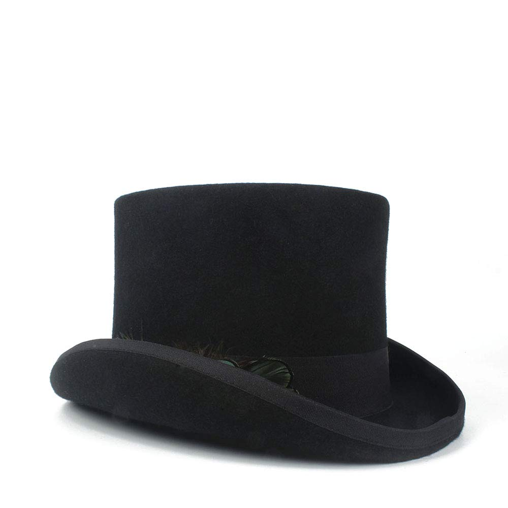 LL Women's Top Hat Ladies Wool Fedora Magician Party Hat 4Size S M L XL 13.5 cm (5.3 Inch) (Color : Black, Size : 57cm) by LL (Image #1)