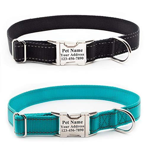 Personalized Dog Collar, Reflective Custom Dog Collar with Name Phone  Number Adjustable Size (XS S M L)