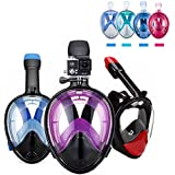 [BFULL Newest Version] Full Face Easybreath Snorkel Mask 180° Panoramic Sea View Anti-fog Anti-leak Snorkeling Mask with GoPro Mount and Soft Adjustable Head Straps For Kids and Adults