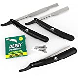 Equinox International Barber Straight Edge Razor with Black Razor with 100 Blades