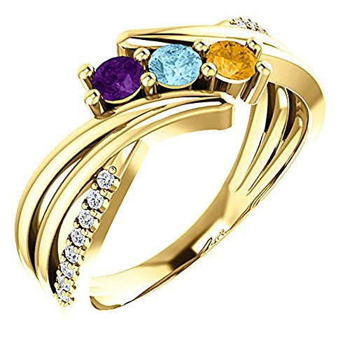 (Family Mothers Ring 2 3 or 4 Birthstones Solid 10k White or Yellow (8))